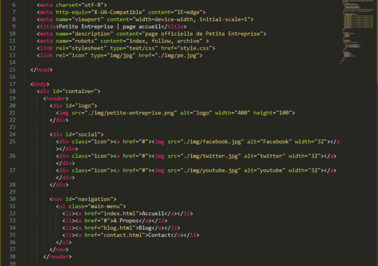 exemple de page codée en html
