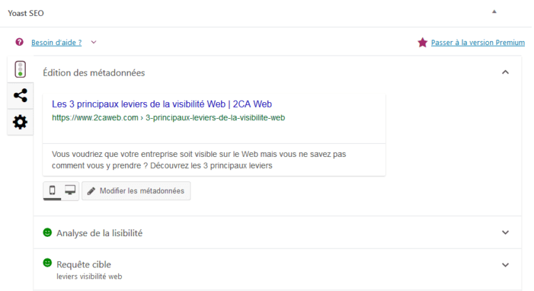Exemple de metadescription avec Yoast SEO