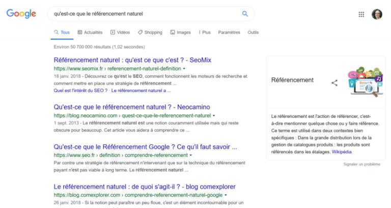 Les résultats d'une recherche sur Google